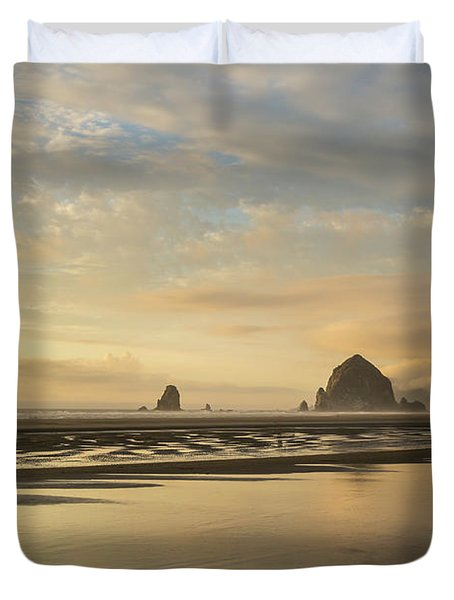 Sunset At Haystack Rock Duvet Cover