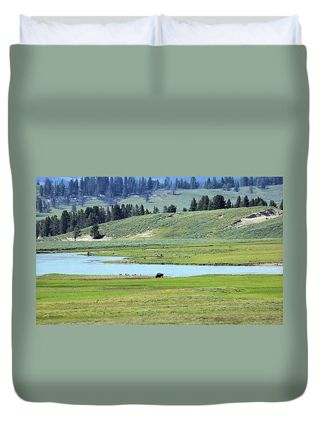 Lone Bison Out On The Prairie Duvet Cover