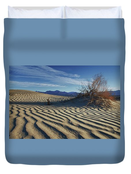 Lone Bush Death Valley Hdr Duvet Cover by James Hammond