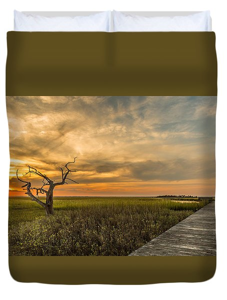 Lone Cedar Dock Sunset - Dewees Island Duvet Cover