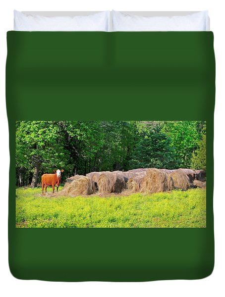 Lone Cow Guard, Smith Mountain Lake Duvet Cover