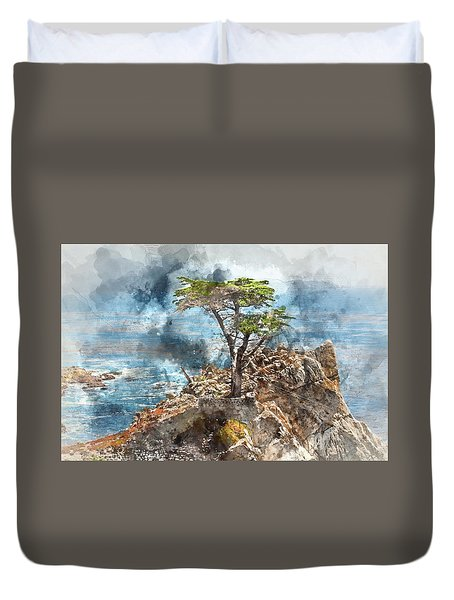 Lone Cypress In Monterey California Duvet Cover