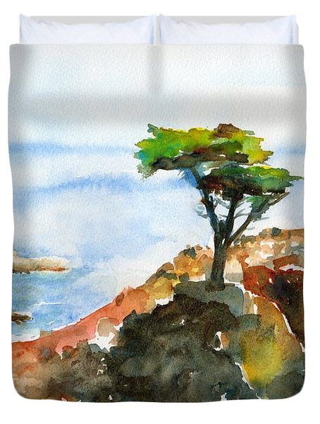Lone Cypress Pebble Beach Fog Duvet Cover