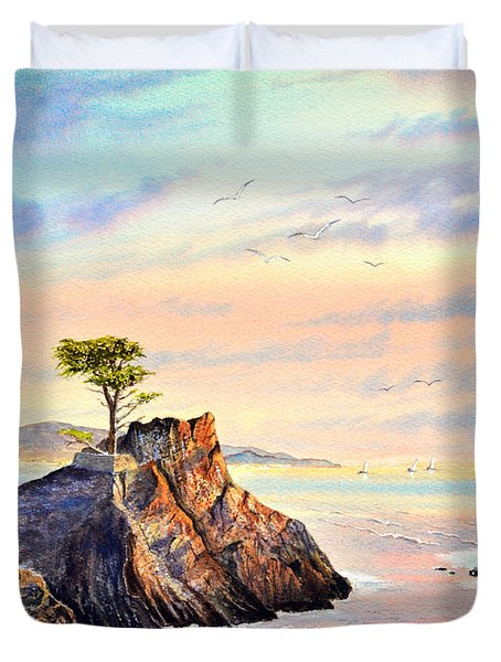 Lone Cypress Tree Pebble Beach Duvet Cover by Bill Holkham