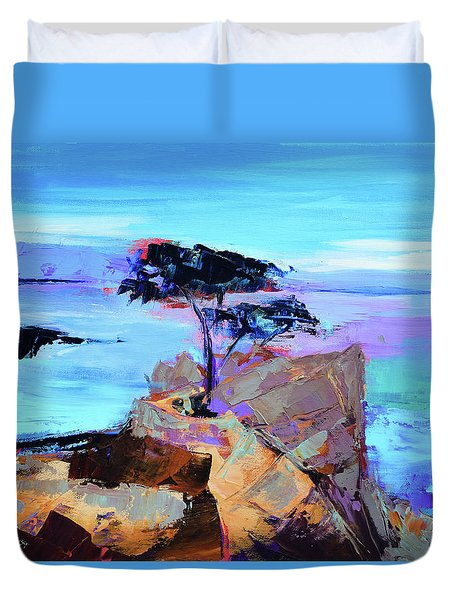 Duvet Cover featuring the painting Lone Cypress by Elise Palmigiani
