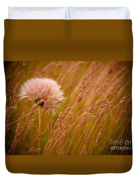 Lone Dandelion Duvet Cover by Bob Mintie