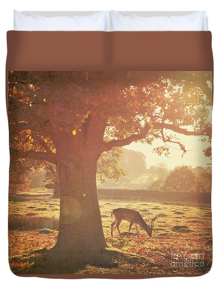 Duvet Cover featuring the photograph Lone Deer by Lyn Randle