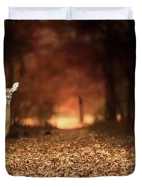 Duvet Cover featuring the photograph Lone Doe by Darren Fisher