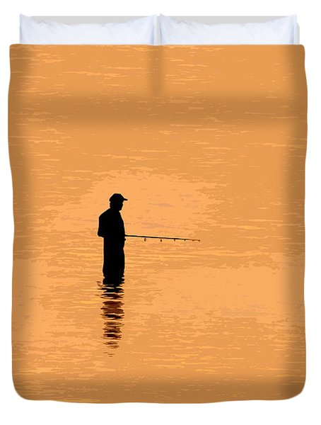 Lone Fisherman Duvet Cover by David Lee Thompson