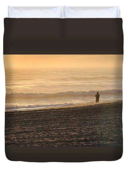 Lone Fisherman On A Misty Morning Duvet Cover