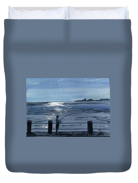 Lone Fisherman On Worthing Pier Duvet Cover