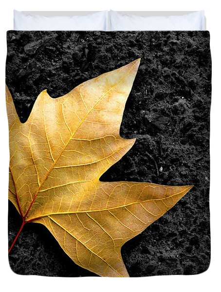 Lone Leaf Duvet Cover by Carlos Caetano