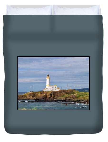 Duvet Cover featuring the photograph Lone Lighthouse In Scotland by Roberta Byram