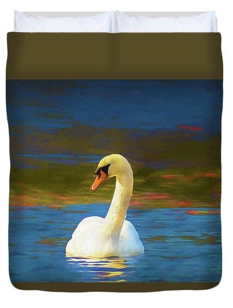 Lone Mute Swan. Duvet Cover