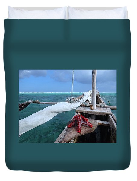 Lone Red Starfish On A Wooden Dhow 1 Duvet Cover