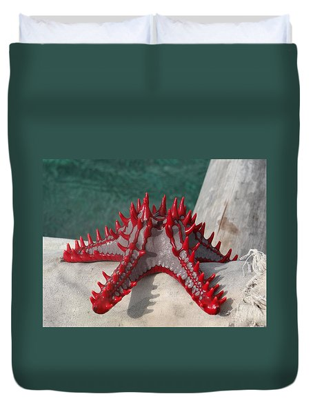 Lone Red Starfish On A Wooden Dhow 3 Duvet Cover