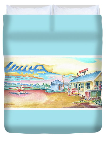 Lone Rock Airport Duvet Cover by Linda Kelen