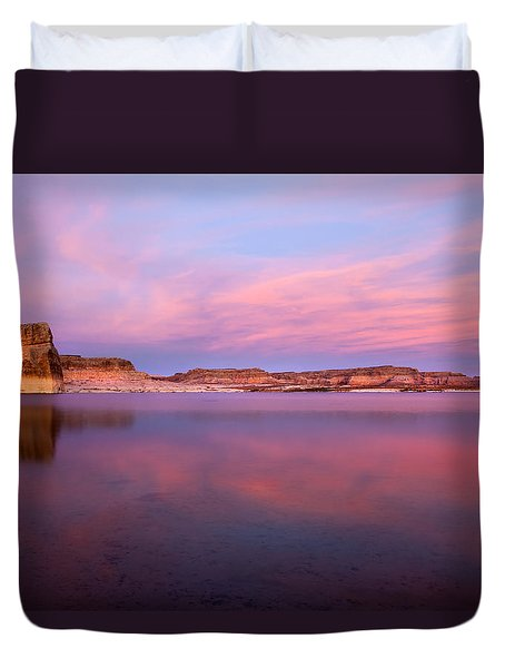 Lone Rock Sunset Duvet Cover by Mike  Dawson