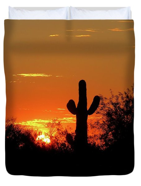 Lone Saguaro Sunrise Duvet Cover