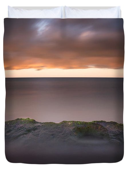 Duvet Cover featuring the photograph Lone Stone At Sunrise by Adam Romanowicz