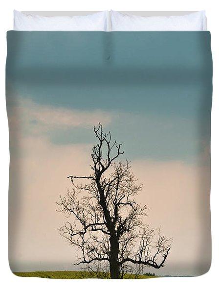 Lone Tree In Rape Field 1 Duvet Cover