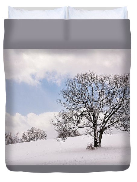 Lone Tree In Snow Duvet Cover