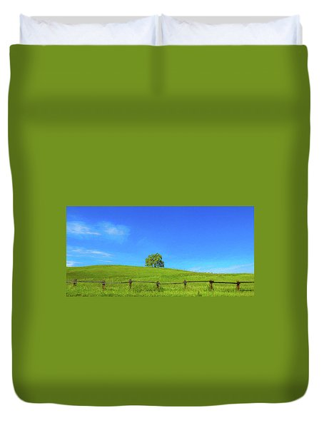 Lone Tree On A Hill Digital Art Duvet Cover