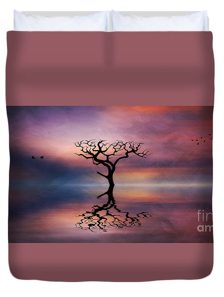 Duvet Cover featuring the digital art Lone Tree Sunrise by Ian Mitchell