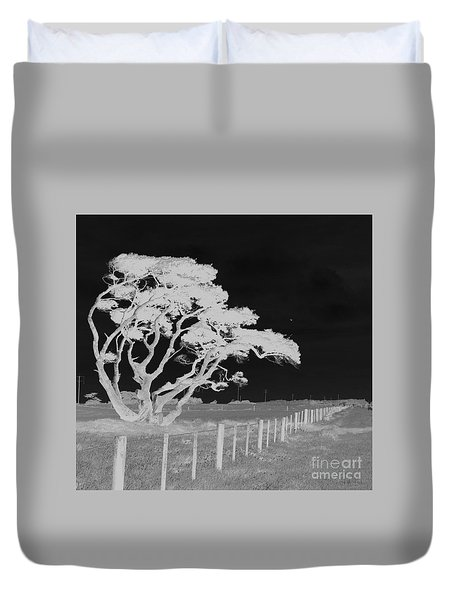 Duvet Cover featuring the photograph Lone Tree, West Coast by Nareeta Martin