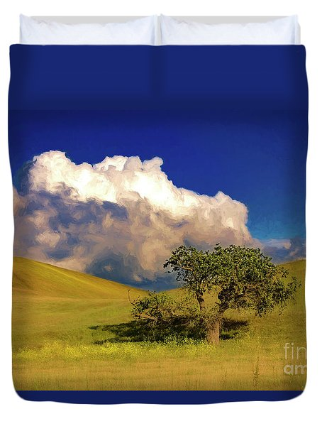 Lone Tree With Storm Clouds Duvet Cover