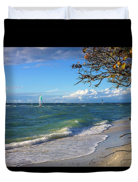 Lone Windsurfer At Wiggins Pass Duvet Cover