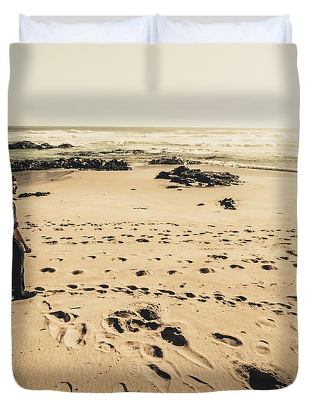 Lonely Beach Sunset Duvet Cover