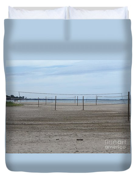 Lonely Beach Volleyball Duvet Cover