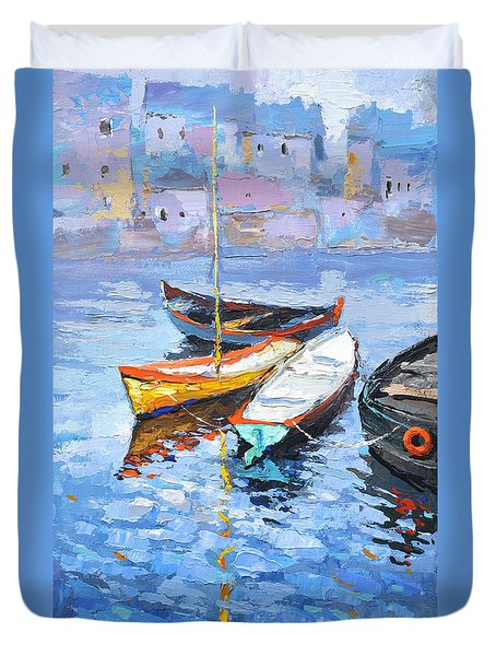 Lonely Boats  Duvet Cover