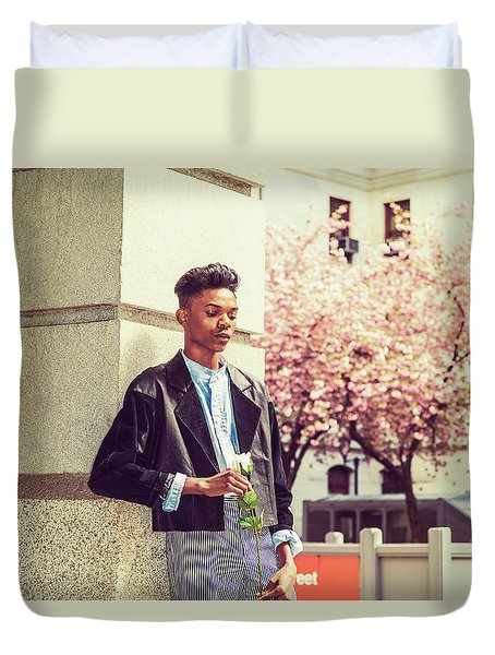Lonely Boy With White Rose 15042643 Duvet Cover