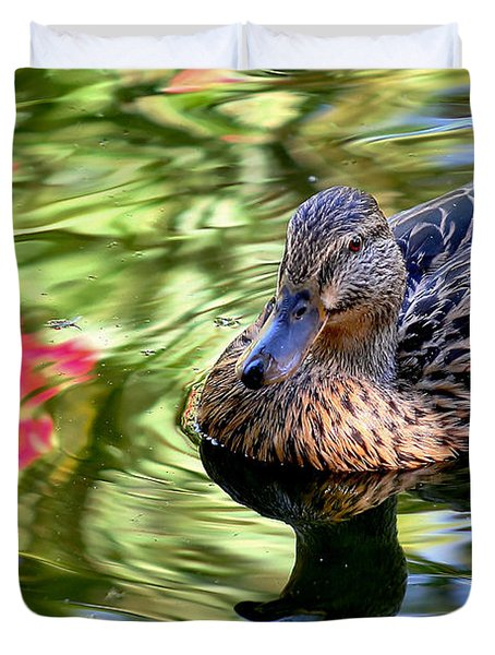 Duvet Cover featuring the photograph Lonely Duckie by Elaine Malott