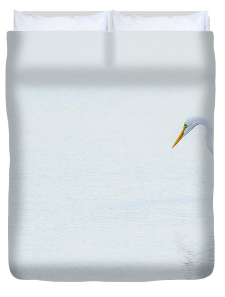 Lonely Egret Duvet Cover