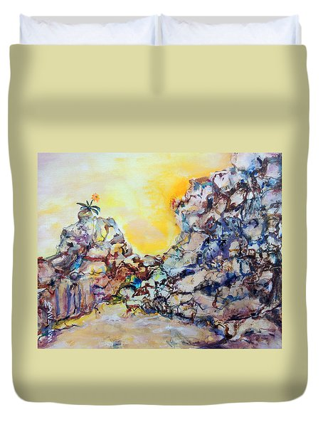 Lonely Flower Duvet Cover by Mary Schiros
