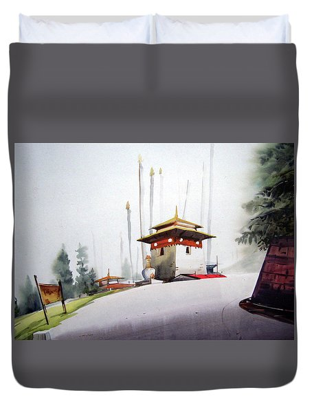 Lonely Foggy Mountain Landscape Duvet Cover