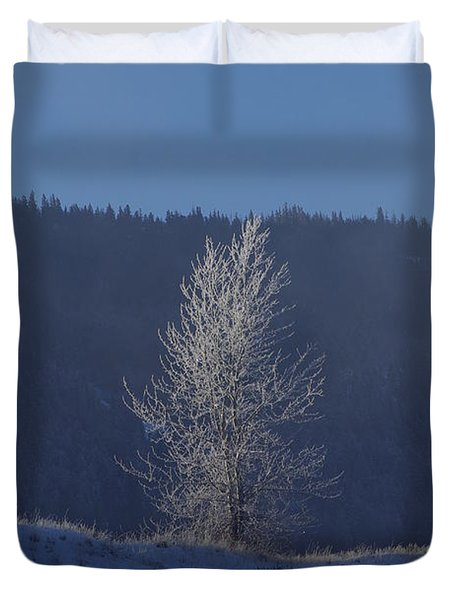 Lonely Frosty Tree Duvet Cover