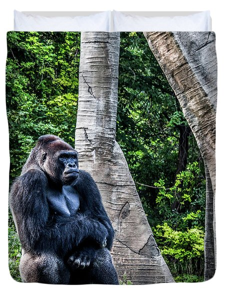 Duvet Cover featuring the photograph Lonely Gorilla by Joann Copeland-Paul