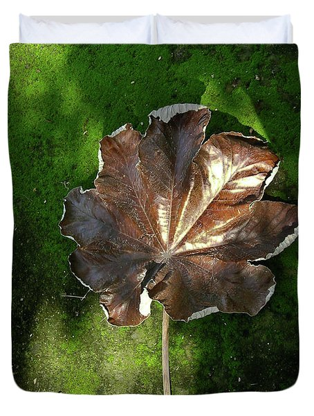 Lonely Leaf On Moss Duvet Cover