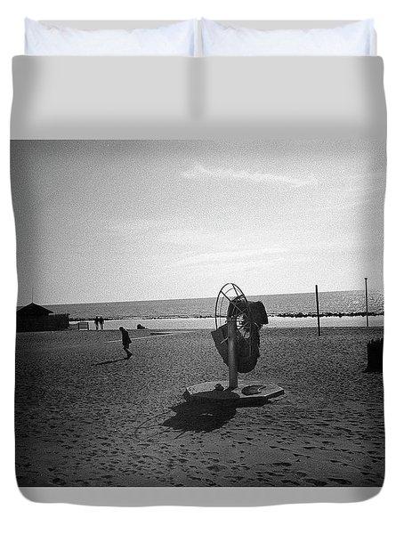 Lonely Man In Ostia Beach Duvet Cover
