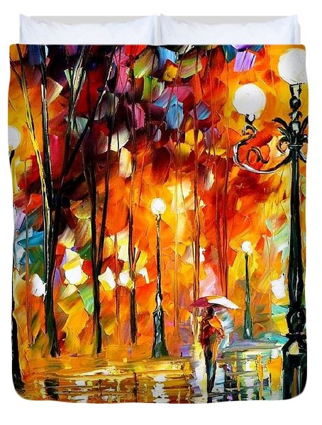 Lonely Night 3 - Palette Knife Oil Painting On Canvas By Leonid Afremov Duvet Cover