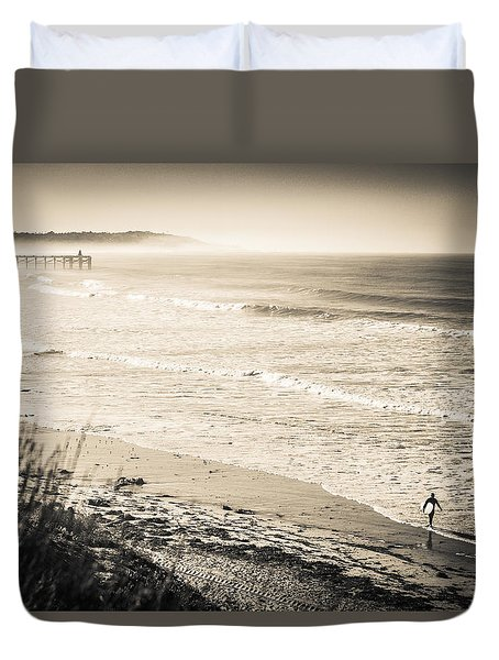 Duvet Cover featuring the photograph Lonely Pb Surf by T Brian Jones