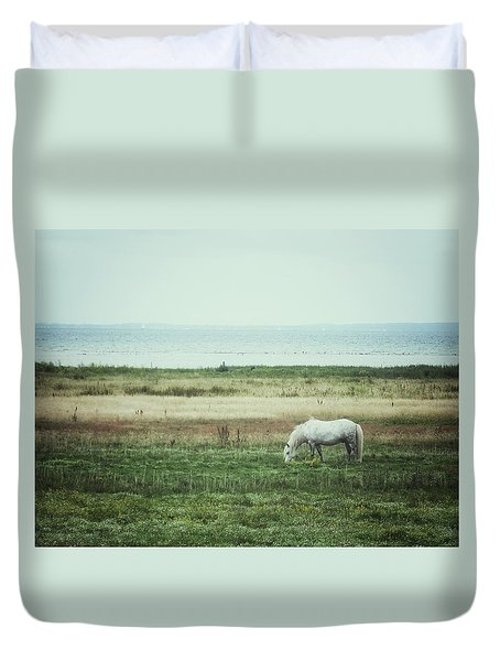 Duvet Cover featuring the photograph Lonely Pony by Karen Stahlros