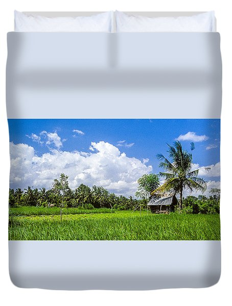 Duvet Cover featuring the photograph Lonely Rice Hut by T Brian Jones