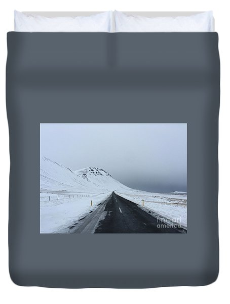 Lonely Road On Snaefellsnes Peninsula Duvet Cover