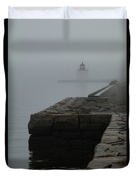 Duvet Cover featuring the photograph Lonely Salem Lighthouse In Fog by Jeff Folger