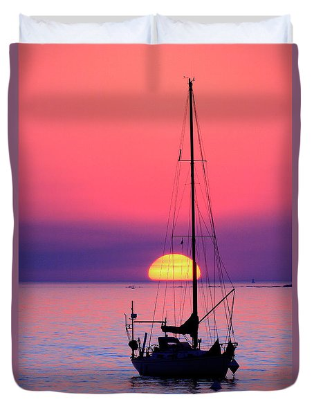 Duvet Cover featuring the photograph Lonely Sunset by Bernardo Galmarini